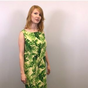 Vintage Leaf Print Tank Shift Dress Sz Large